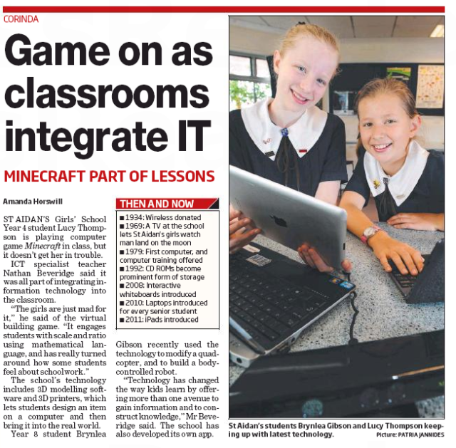 Article: Game on as classrooms integrate IT